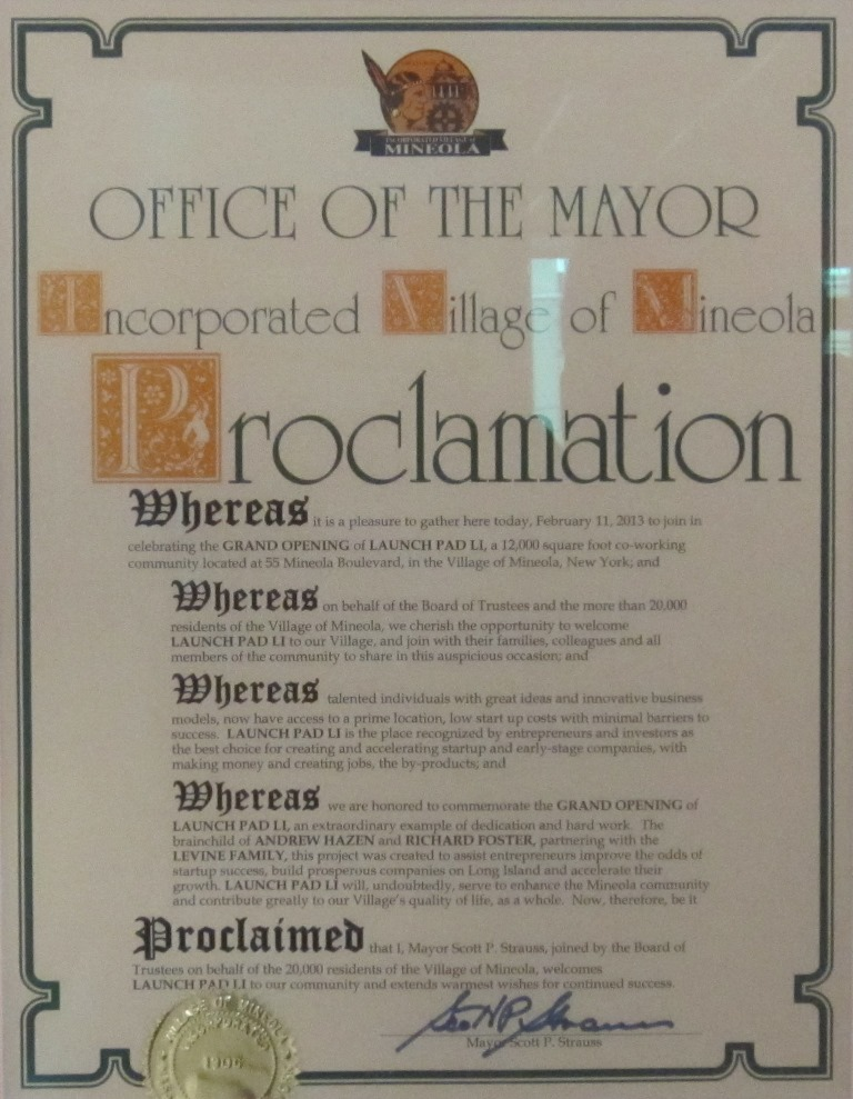 Proclamation by the Mayor of Mineola