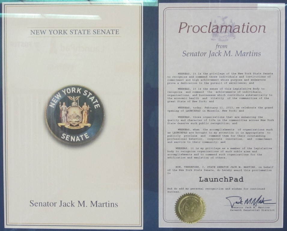 Proclamation by the NY Senator Martins